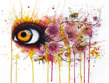 Abstract drawing - beautiful eye and flowers