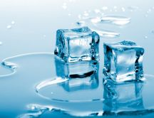Pieces of ice melt instantly - HD wallpaper