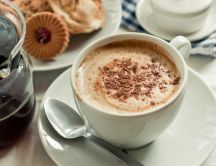 Good morning - delicious coffee with cream foam
