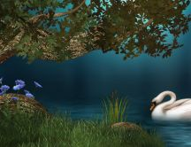White swan on the lake - digital art wallpaper