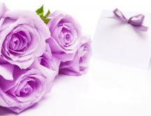 Pink roses - flowers and invitation for marriage