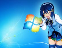 Anime girl with blue hair playing with windows logo