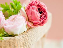 White and pink peonies in a beautiful basket