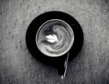 Black and white wallpaper - delicious coffee in a cup