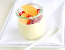 Sweet jam with yogurt and fruits - good morning