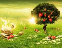 Magic abstract garden - strawberries in a tree