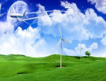 Planes and wind-power-generation on a green field