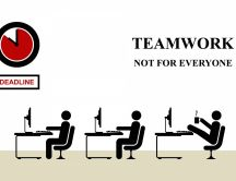True funny wallpaper - team work in an office