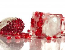 Pomegranate beans in an ice cube