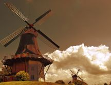 Wooden house and Windmills - HD nature wallpaper