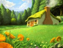 Beautiful nature drawing - the house from the story