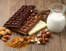 Three type of chocolate and a glass of milk - HD wallpaper