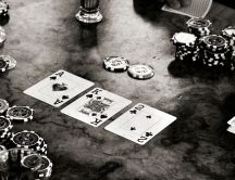 Black and white poker game - big blind on the table