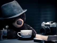 Cute wallpaper - teddy bear drink coffee and take photos