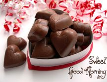 Delicious box full of heart chocolate - love sweet mornings
