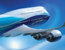 Fly to an unknown destination with a blue Boeing plane