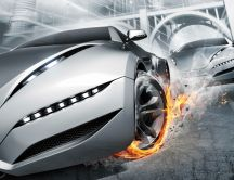 High speed and wheel on fire - abstract car on race