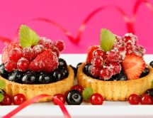 Two mini fruit tarts - delicious sweet dessert