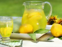 Fresh lemonade in the hot summer days - delicious drink