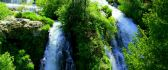 Green nature and cold mountain waterfall - HD wallpaper