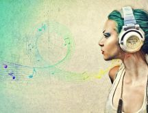 Wonderful drawing - girl listen music on headphones