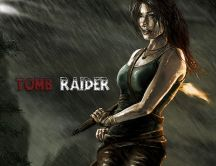 Fight in the rain - beautiful woman in Tomb Raider game