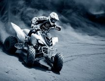 Crazy race with ATV in the dessert - HD wallpaper