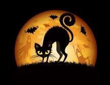 Cats are evil on Halloween night - HD wallpaper