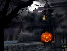 Pumpkin on the fence - scary castle