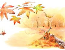 Autumn leaves on a beautiful drawing - HD wallpaper