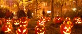 Halloween pumpkins lights in the night