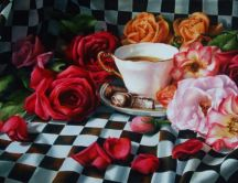 Beautiful painting - coffee and flowers in the morning