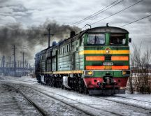 Old steam locomotive at work in winter - HD wallpaper