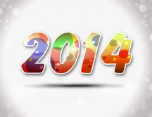 Happy new year 2014 - gray background