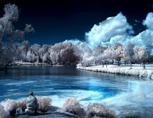 Fishing in the middle of a cold winter night - HD wallpaper