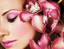 Beautiful pink make-up like an orchid - HD wallpaper