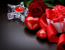 Candle, roses and red hearts - gift for Valentines Day
