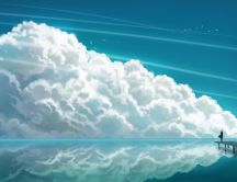 Big fluffy cloud on the beautiful blue sky -abstract drawing
