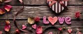 Love message on the wood - Happy Valentines Day