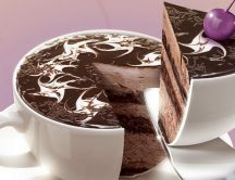 Delicious cup of chocolate cake - Good morning