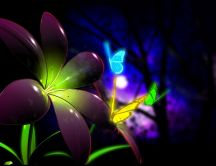 Digital art - neon butterfly and flower