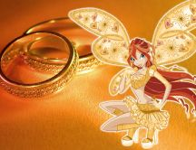 Golden fairy and mariage rings