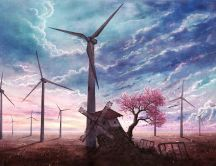Beautiful drawing with windmills