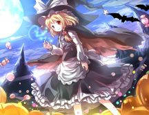Anime Halloween wallpaper - flying candies and big pumpkins