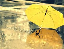 Yellow umbrella on the road - Rainy day