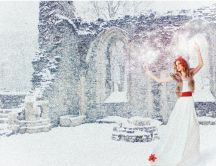 Princess of the winter season - magic snow