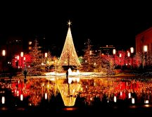 Magic Christmas lights - beautiful city in the night