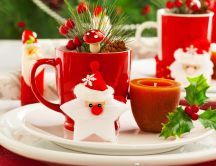Funny coffee cup with Santa Claus - HD Christmas wallpaper