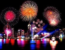Happy New Year 2015 - fireworks and lots of lights