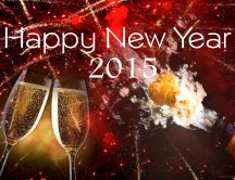 Happy New Year 2015 - fireworks and champagne
